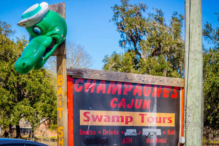 Abbeville, LA, USA - Jan 22, 2017: A welcoming sign at the entry point of the swamp
