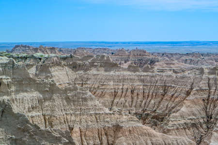 Rocky landscape of the beautiful Badlands National Park, South Dakota