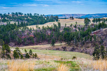 A beautiful overlooking view of nature in Wind Cave National Park, South Dakota 写真素材