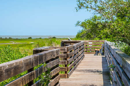 A very long boardwalk surrounded by shrubs in Aransas NWR, Texas