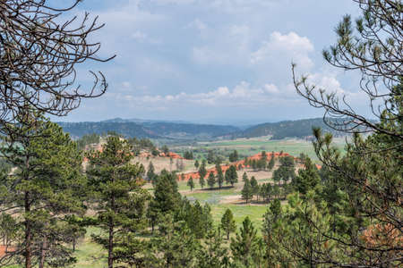 An overlooking landscape of Devils Tower National Monument, Wyoming 스톡 콘텐츠