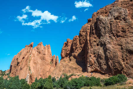 A natural red rock corral rock formations in Garden of the Gods