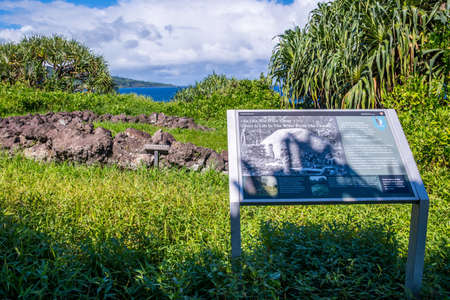 Maui, HI, USA - August 27, 2019: There is life in the water from the clouds signage post