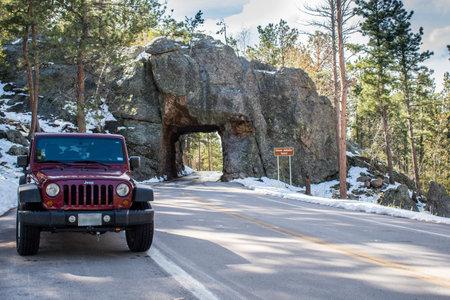Black Hills National Forest, SD, USA - May 24, 2019: A Jeep Wrangler Unlimited Sports parked along CC Gideon Tunnel Redakční