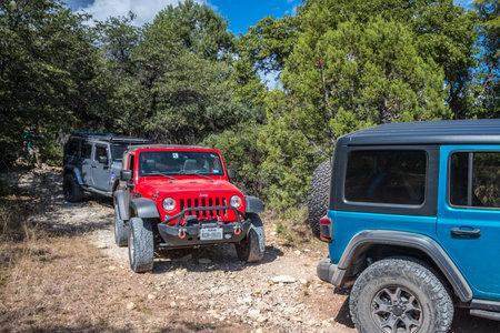 Benson, AZ, USA - Sept 5, 2019: A set Jeep Wranglers taking an off-road course
