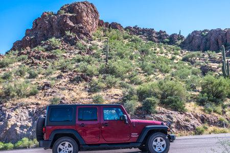 Apache Trail, AZ, USA - Oct 20, 2019: A Jeep Wrangler Unlimited Sports parked along the park Redakční