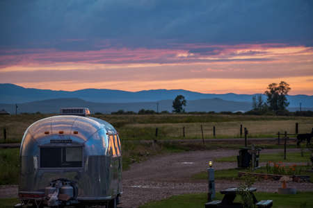 White Sulphur Springs, MT, USA - July 17, 2019: Enjoying the captivated view from our RV Editorial