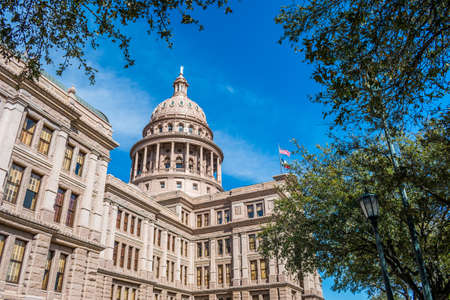 Austin, TX, USA - March 9, 2019: The huge outside preserve grounds of Texas State Capitol