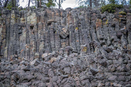 A cliff made of basalt lava that formed columnar joints 스톡 콘텐츠