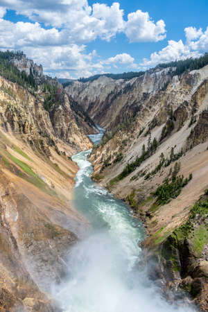 The famous Grand Canyon of the Yellowstone in Wyoming 스톡 콘텐츠