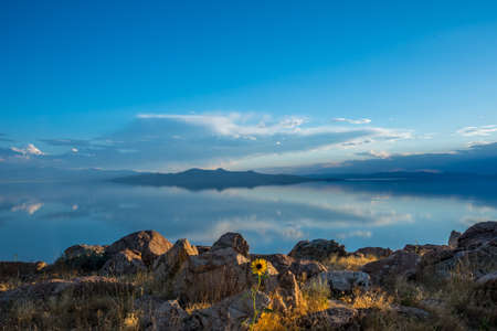 An overlooking landscape view of Antelope Island State Park, Utah Фото со стока