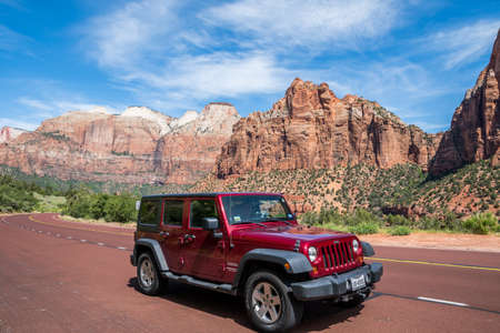 St George, UT, USA - May 17 2020: A Jeep Wrangler Unlimited Sports parked along the preserve park