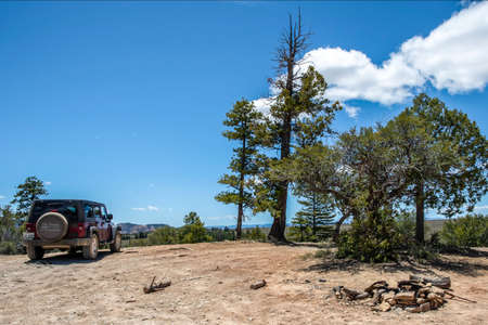 Dixie National Forest, UT, USA - May 24, 2020: A Jeep Wrangler Unlimited Sports parked along the preserve forest