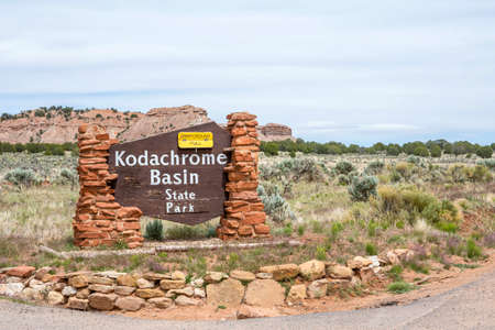 Bryce Canyon NP, UT, USA - May 22, 2020: A welcoming signboard at the entry point of the preserve park