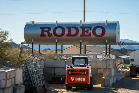Rodeo Grounds, AZ, USA - January 11, 2020: A welcoming signage at the entry point of the city