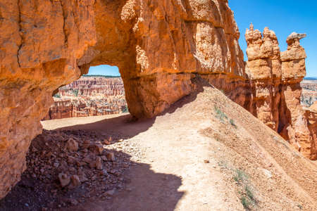 A natural rock formation of Red Rocks Hoodoos in Bryce Canyon National Park, Utah