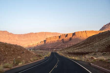 A long way down the road going to Navajo Bridge Interpretive Center, Arizona