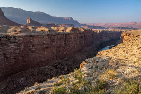 An overlooking view of canyon landscape scenery of the park