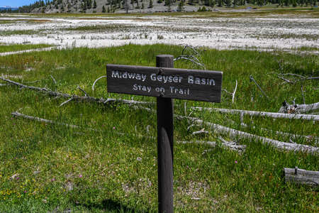 Yellowstone NP, WY, USA - July 11, 2020: The Midway Geyser Basin 新聞圖片