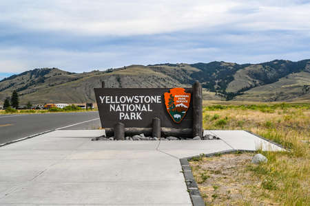 Yellowstone NP, WY, USA - August 8, 2020: A welcoming signboard at the entry point of the preserve park