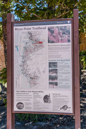 Bryce Canyon NP, UT, USA - May 25, 2020: The Bryce Point Mountain Trailhead