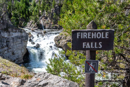 Yellowstone NP, WY, USA - August 1, 2020: The Firehole Falls