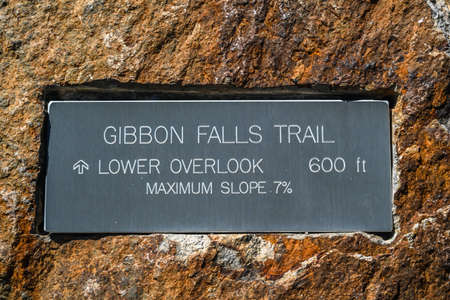 Yellowstone NP, WY, USA - August 8, 2020: The Gibbon Falls Trail