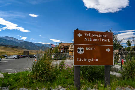 Yellowstone NP, WY, USA - August 8, 2020: The different kinds of places going to its scenic destination