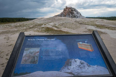 Yellowstone NP, WY, USA - August 1, 2020: The White Dome Geyser