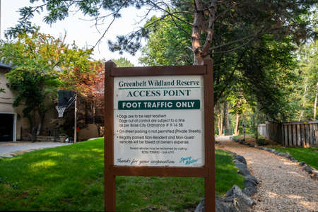 Boise, ID, USA - July 25, 2021: The Greenbelt Wildland Reserve Access Point Editorial