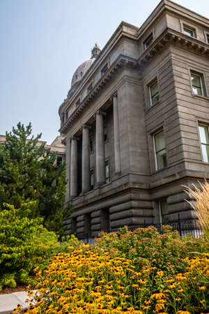 Boise, ID, USA - July 25, 2021: The huge outside preserve grounds of Idaho State Capitol Editorial