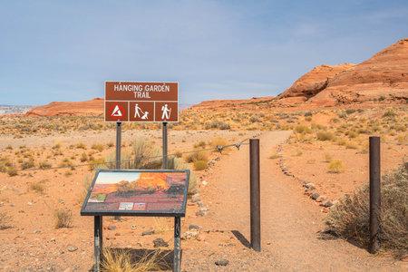 Glen Canyon NR, AZ, USA - Sept 26, 2020: The Hanging Garden Trail Sajtókép