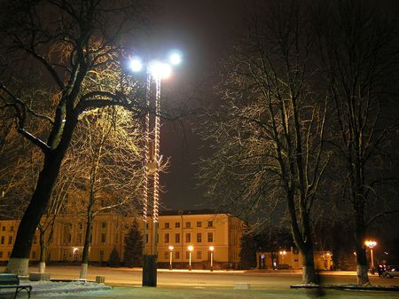obscurity: The city area at night in the winter