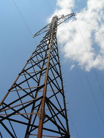 mains: Support of electric mains on a background of the sky