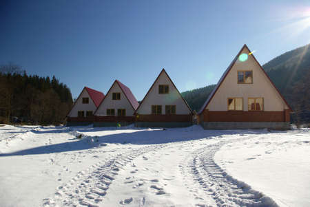 Four small houses stand on a solar glade Standard-Bild