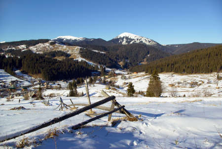 Snow-covered mountains in Carpathians on Ukraine photo