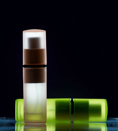 Two bottles with perfume in polarized light