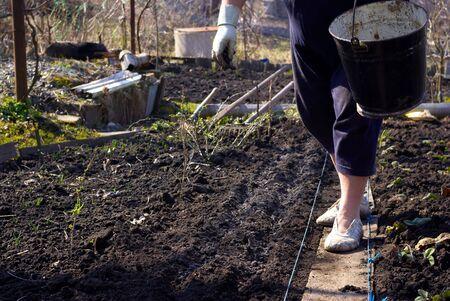 gardener powder ground fertilizers Standard-Bild