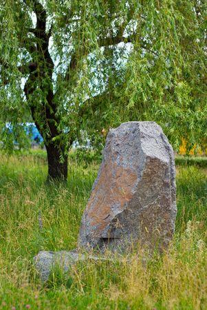 piedra de canto rodado y de �rboles en una hierba  Foto de archivo