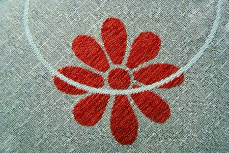 red pattern of flower on textile Stock Photo