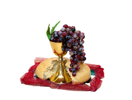 symbol of Christianity grape, bread and wine in cup