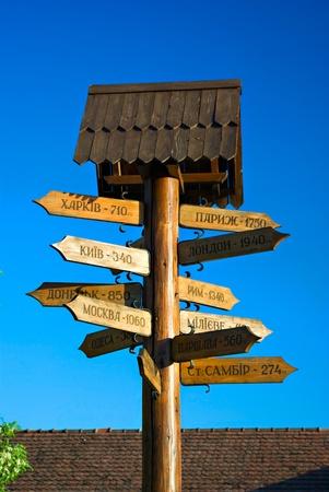 poste indicador de madera con las ciudades en el fondo azul