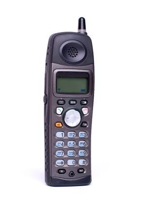 black radio telephone on white background