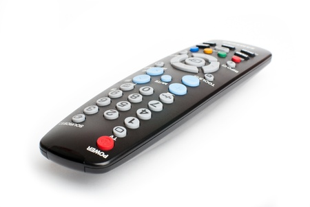 black remote control on white background