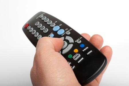 black remote control on white background