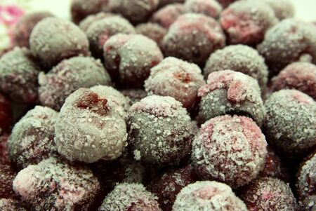 quick-frozen fruit cherry coated hoarfrost