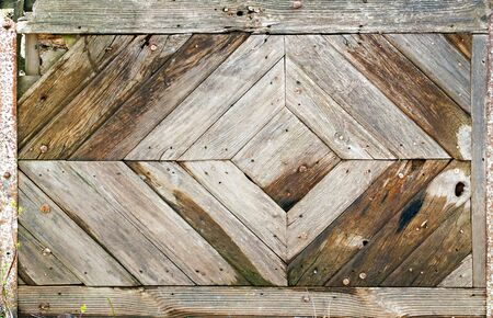 hobnail: pattern from ancient planking at shape of rhombus Stock Photo