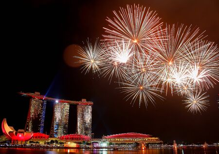 fireworks display: Fireworks by Marina Bay Sands, Singapore