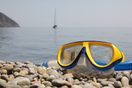 Tube and mask for diving at the beach. Stock fotó