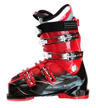 gear  speed: Scarponi da sci isolato su sfondo bianco.